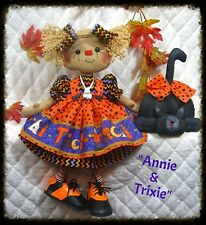 "~Primitive Raggedy Ann Halloween PATTERN ""ANNIE & TRIXIE"" 16"" doll w/black cat~"