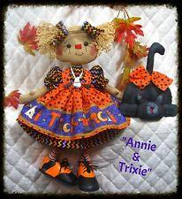 "~Primitive Raggedy Ann Halloween PATTERN ""ANNIE & TRIXIE"" 16"" doll w/black cat~"