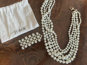 J.Crew Multi Strand Graduated Faux Pearl  Ivory-Off White Necklace