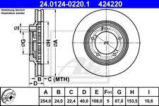 2x ATE Bremsscheibe 24.0124-0220.1 254mm vorne für HYUNDAI H-1 STAREX 2.4 2.5
