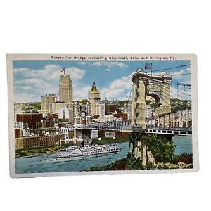 Covington Kentucky To Cincinnati Ohio Suspension Bridge Vintage Postcard
