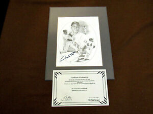 WILLIE MAYS GIANTS HOF MVP SIGNED AUTO MATTED LITHO SB AUTHENTIC
