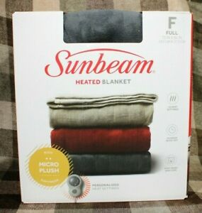 Sunbeam Heated Electric Microplush Blanket with 10 Heat Settings Multiple Sizes