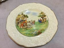 Vintage English Crown Ducal Florentine Ye Old Tavern Scene Display Plate