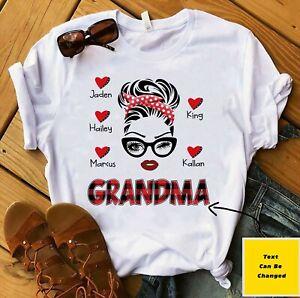 Womens T-Shirt Grandma Heart Art Tee Shirt With Grandkids Names Short Sleeve