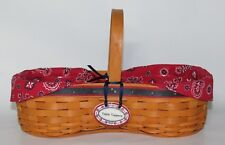 Longaberger 2000 Bbq Barbecue Buddy Basket Combo w Table Topper Tie On