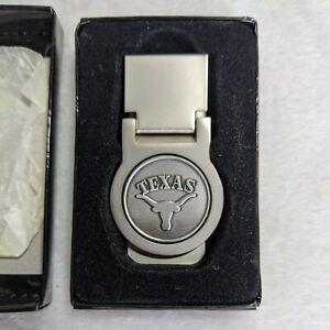 Texas Longhorn Money Clip Steel Clip w/ Pewter Medallion Hinged - NIB