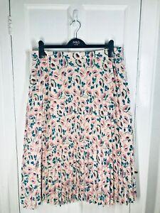ex-M&S Size 16 Pink Floral Pleated Midi Skirt Bnwtr Versatile Dress up / Down !