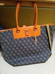 Woman Used Dooney And Bourke Denim Orange Leather Bag Tote Shoulder Bag