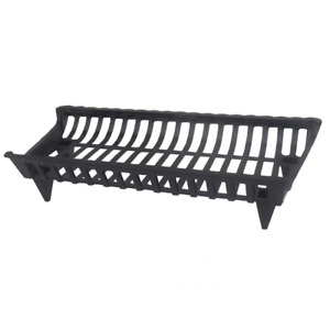 Cast Iron Fireplace Grate Heavy Duty Steel Black Burning Log Firewood Rack 30 In