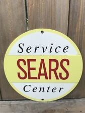 Sears Service Station Center Oil. Gas Mechanic advertising garage sign baked