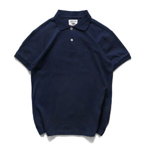 Vintage Solid Short Sleeve T-shirt Men's Summer Collared Tee Cotton Knitting Top