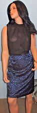 Evan-Picone~Black Lace~Royal blue~Satin inlay~Pencil Skirt~NEW~Size 10R~Sexy!
