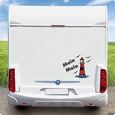 Wohnmobil Caravan Wohnwagen Fun KFZ  Aufkleber Leuchtturm Moin Moin