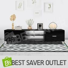 Lowline High Gloss TV Stand Wooden Entertainment Side Cabinet Storage Unit Black