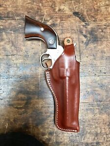 Hand Carved and tooled Sheridan Style Leather Holster for Ruger Single Six