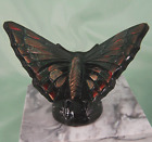 Fenton Art Glass Ebony Butterfly Glossy Figurine w Fairy Dust Black NOS New MIB