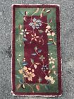 1930's Chinese Art Deco Scatter Wool Rug. Red Wine Ground With Jade Green Border