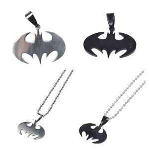 Fashion Women Men Pendant Necklace Chain Silver Stainless Steel Bat Batman Gift