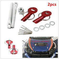 2pcs Universal Red Car Auto Flush Hood Mount Bonnet Latch Catch Pin Locking Kit