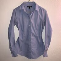 Banana Republic Women's Sz 2 Riley Taylored Fit Long Sleeve Shirt Blue