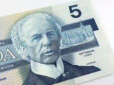 1986 Canada Five 5 Dollars EOT Prefix Canadian Uncirculated Banknote I697