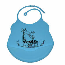 Blue Giraffe Bib Waterproof Baby Toddler Dribble Bibs Soft & Foldable Silicone