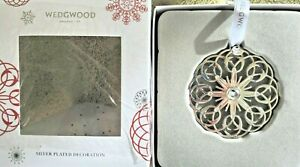WEDGWOOD Silver Filigree Snowflake with Crystal Center Ornament  New in Box