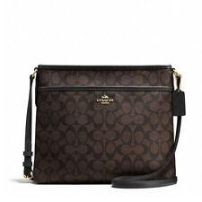 New COACH F58297 F34938 Signature File Bag Crossbody Handbag Brown Black $225.00