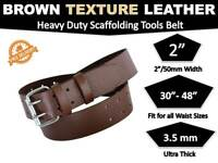 Scaffold BROWN Texture Leather Tool Belt Heavy Duty Professional scaffolder 2''