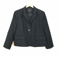 Women's Ann Taylor Navy Blue Polka Dot Wool Blend 2 Button Blazer Jacket Size 14