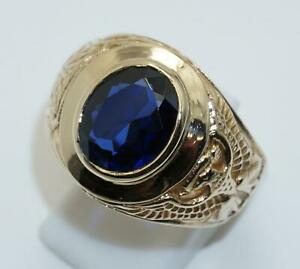 9carat 9k Yellow Gold Faux Sapphire College Style Ring UK size W US size 11 1/8