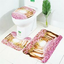 3PCS  Pink Flower Print Bathroom Bath Mat Contour Rug Set with Toilet Lid Cover