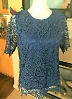 Philosophy Republic Clothing Lace Top Light Navy Blue Lined Size M NWT