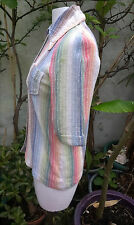 Cheesecloth Cotton Shirt Rainbow Colours 60s Vintage