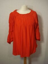BNWT Voyelles red ruched sleeves/neck boho tunic top oversized 8 10 12 14