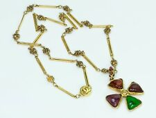 CHANEL 1970's Gripoix Maltese Cross Necklace