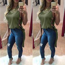 Fashion Womens Sleeveless Shirt Casual Loose Blouse Ladies Chiffon Tops T Shirt
