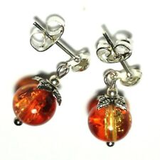 Short Dainty Earrings Orange Yellow Glass Bead Drop Dangle Butterfly Stud UK