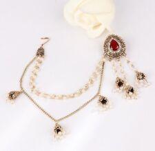 Indian Jumka Pearl Bridal Earrings Antique Gold Jhumka Hair Pakistani crystal UK