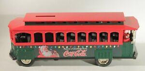 1995 ERTL  Coca Cola Trolley Bank with Santa Claus SEASON'S GREETINGS