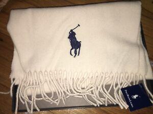 """NEW In BOX Polo Ralph Lauren Beige Tan Scarf 100% Lambs Wool Mens Women's 60"""""""