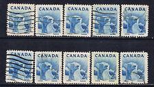 Canada #322(5) 1953 2 cent blue Wildlife - Polar Bear 10 Used