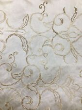 IVORY Embroidered 100% Polyester Dupioni Fabric (54 in.) Sold BTY