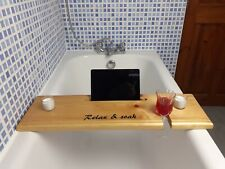 Wooden Bath Caddy Board With 2 FREE Candles, Wine Holder/Tablet/Mobile Holder