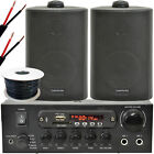 Outdoor Bluetooth Speaker Kit 2x Black Karaoke Stereo Amp Garden BBQ Parties