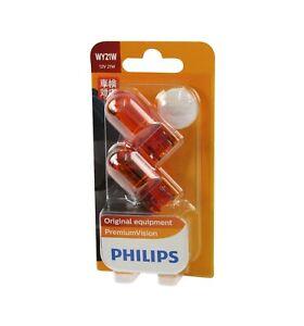 Genuine PHILIPS Premium Vision Amber Indicator Globe Wedge WY21W 12V - 2 Pack