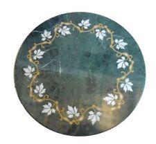 "18"" Green Marble Table Top Semi Precious Stone Handmade Home Furniture"