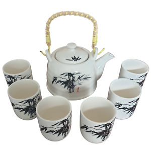 Chinese Ceramic Tea Set - Oriental Pattern - 6 Cups and Infuser - Boxed