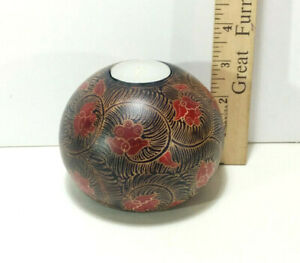 """Hard Wood Batik Candle Holder, 3"""" Height, Hand Crafted - Made in Bali, Black"""